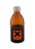 Small glass bottle with harmful sign Royalty Free Stock Image