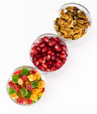 Small glass with dried fruits, nuts, pomegranate Stock Photo