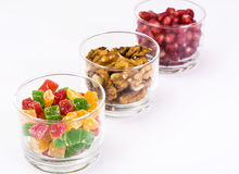 Small glass with dried fruits, nuts, pomegranate Royalty Free Stock Image