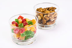 Small glass with dried fruits, nuts, pomegranate Stock Photography