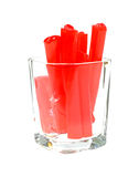 Strawberry Filled Licorice Sticks in Glass Stock Photography