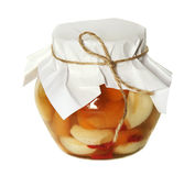 Small glass jar with pickled veg Royalty Free Stock Images