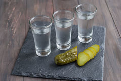 Small glass with Russian vodka and salt cucumber. Small Wine-glass of Russian vodka and salt cucumber snack on wooden table. copy space Stock Photos
