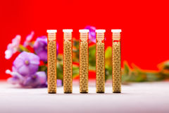 Small glass tubes with homeopathy globules royalty free stock image