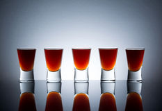 Small Glasses, Drink Shots Of Alcohol With Reflection Stock Photo