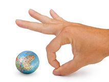 Small globe and hand Stock Image