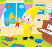 Small gnome blows the trumpet. The small gnome blowing the trumpet in the musical school royalty free illustration