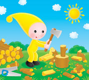 Small gnome chops the firewood. The small gnome chopping the firewood in the yard for his stove royalty free illustration