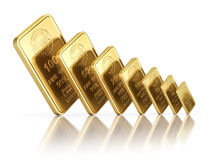 Small gold bars with different sizes Stock Images