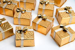 Small Gold Christmas Presents Stock Photos