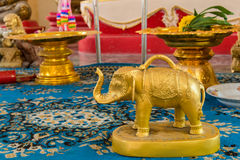 Small gold elephant for raise cast lots in temple Thailand. Stock Photo