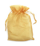 Small gold fabric bag isolate on white Royalty Free Stock Photo