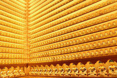 Small Golden Buddha Statues At The Yakchunsa Temple Royalty Free Stock Images