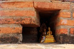 Small golden buddha statues hidden in a red brick wall. stock photography