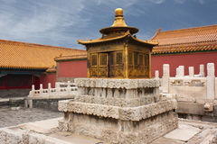Small golden pagoda, Beijing, China. Small pagoda in front of the Palace of Heavenly Purity Qianqinggong in the Imperial Palace, Beijing Stock Image