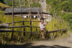 Small gorkhas childr near the house Stock Image