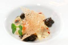 Small gourmet dish with black caviar Royalty Free Stock Photos