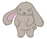 Small soft grey rabbit vector illustration Stock Photos