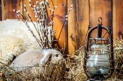 A small rabbit is sitting in a basket littered with hay. Near the rabbit there is an old lamp, and behind it are branches of royalty free stock images