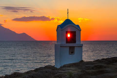 Free Small Greek Chapel And Mount Athos At Sunrise Or Sunset With Sea Panorama Stock Photos - 90452973
