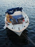 Small Greek Fishing Boat, Annual Maintenance Stock Photo