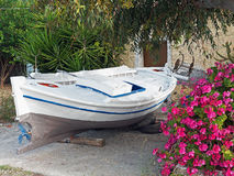 Small Greek Fishing Boat, Repainting stock photo