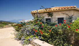 A small Greek house in flowers. On the shore of the Ionian Sea Stock Photo