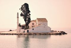 Small Greek Monastery in Sea Stock Photo