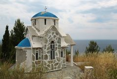 Small Greek temple on the hill near Aegean Sea. Small Greek temple on the hill near the Aegean Sea stock images