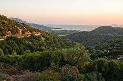 Small greek village by the sea at sunset Royalty Free Stock Photography