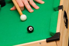 Small green billiard (poool) table Stock Photo