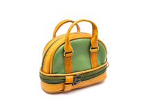 Small Green and Brown Bowling Style Bag on White Background/ Isolated.  Royalty Free Stock Images
