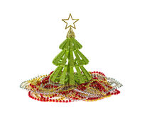 Small green Christmas tree toy with golden star decoration isolated Stock Images