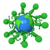 Small green eco people running around the world Stock Photo
