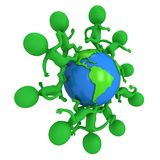 Small green eco people running around the world Royalty Free Stock Images