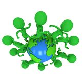 Small green eco people running around the world. Travel and international concept. 3d render illustration isolated on white Royalty Free Stock Photo