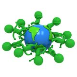 Small green eco people running around the world. Travel and international concept. 3d render illustration isolated on white Royalty Free Stock Images