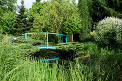 Small green footbridge over a pond Stock Photo