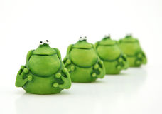 Small green frogs stock photos