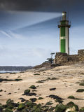 Small green lighthouse Royalty Free Stock Photo