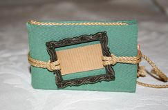 Small green notebook with pockets. Handmade by photographer Stock Images