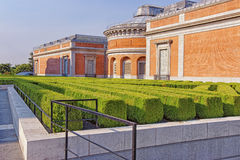 Small green park and Prado Museum in Madrid Royalty Free Stock Photo