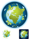 Small Green Planet. Vector Illustration. Friendly small Planet with different background pattern. Suitable for icon, greeting card etc Royalty Free Stock Photo