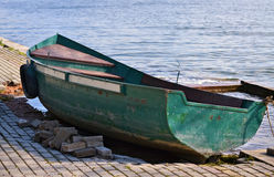 Small green rowboat Stock Image