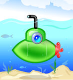 Small green submarine. Cartoons Green Submarine moving in deep open water royalty free illustration