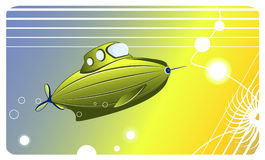 Small Green submarine Vector image Royalty Free Stock Image