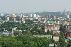 Small green town with industrial towers panoramic view, Orel, Ru Royalty Free Stock Images