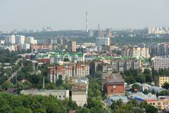 Small green town with industrial towers panoramic view, Orel, Ru Royalty Free Stock Photo