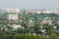Small green town with new buildings panoramic view, Orel, Russia Stock Images