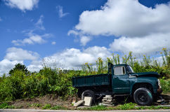 Small Green Truck. Small dark green truck broken at the wayside in Bie ,Hokkaido Japan Stock Photography